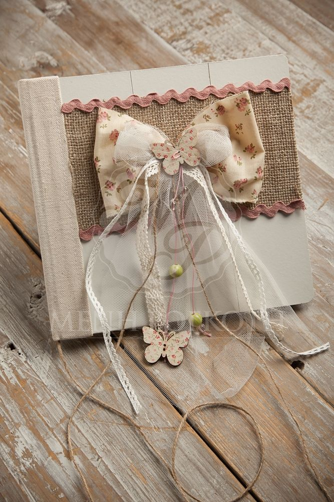 Shabby chic Christening guest book