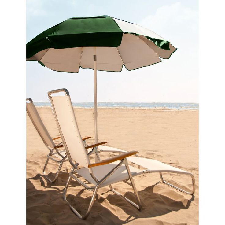 Frankford Umbrella Solar Reflective 6 ft. White Steel Beach/Lifeguard Umbrella with Tilt Forest Green Outside - FT101-FGO