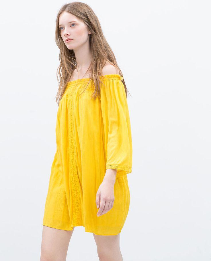 Zara woman embroidered dress wear pinterest