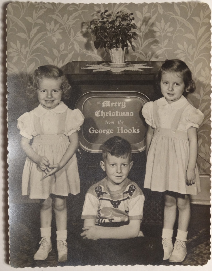 Vintage 1950s Christmas Photograph in Front of The TV
