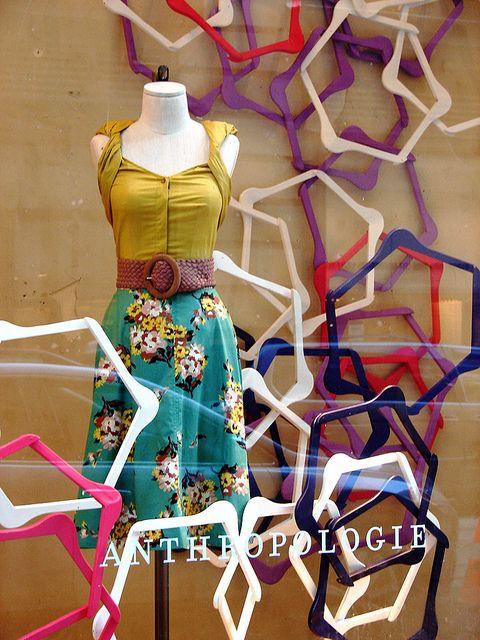 Anthropologie window, painted coat hangers