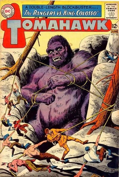 """CBR's """"Comics Should Be Good"""" celebrates """"Ape-ril"""" by showcasing this """"Tomahawk"""" cover featuring a gorilla Indian (they're the oddest kind!). Chief Kong is after Fred Ray's time."""