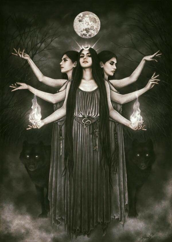 Hecate the goddess of witchcraft, crossroads, and monster/beast folks. Hecate known for her creation of the monstrous … | Hecate goddess, Victoria frances, Goddess