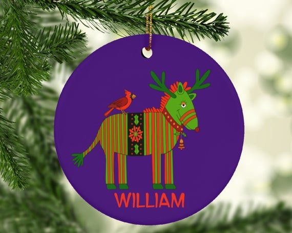 Personalized Gift Custom Ornament With Christmas Zebra Reindeer With In 2020 Purple Christmas Ornaments Personalized Christmas Ornaments Engagement Christmas Ornament