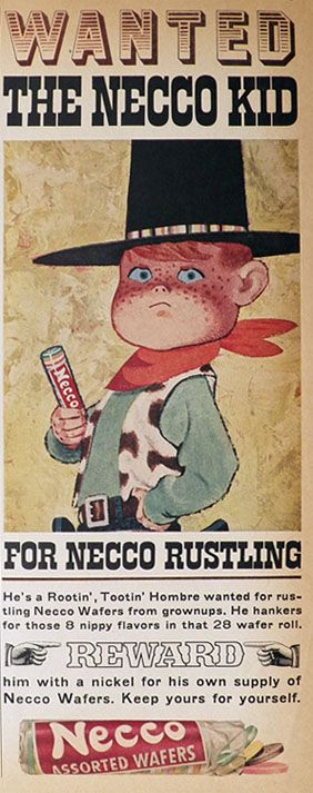 1960 Vintage Necco Candy Ad ~ Wanted: The Necco Kid