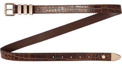 Brown faux crocodile jeans belt