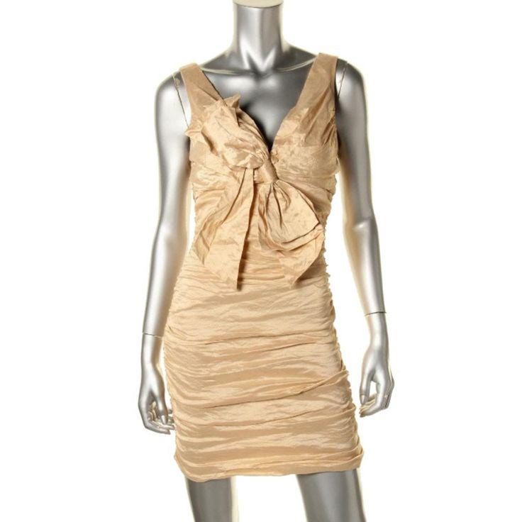 BCBG Max Azria Womens Ruched Metallic Cocktail Dress