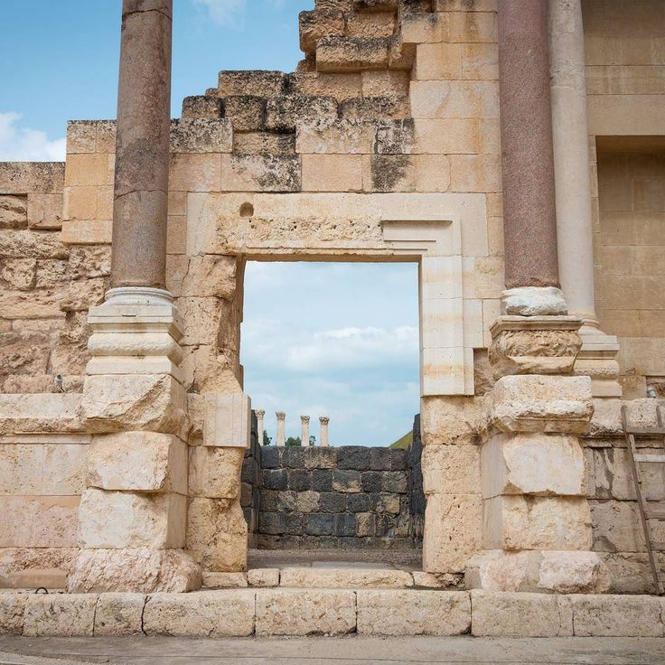 """You must not for one instant give up the effort to build new lives for yourselves. Creativity means to push open the heavy groaning doorway to life."" - Daisaku Ikeda  _  Doorway to the sky.  _  At Beit She'an in Israel. One of the best preserved Roman ruins in this country.  _  Originally settled in the 6th millennia BC this small city became the administrative centre for Egyptians after they conquered the region. After being destroyed by fire it was rebuilt by Canaanites then it was…"