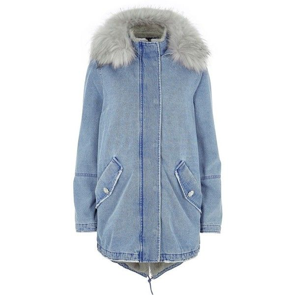 River Island Blue faux fur lined hood denim parka coat (5 775 UAH) ❤ liked on Polyvore featuring outerwear, coats, blue, coats / jackets, jackets, women, blue quilted coat, quilted coat, blue parka and river island parka
