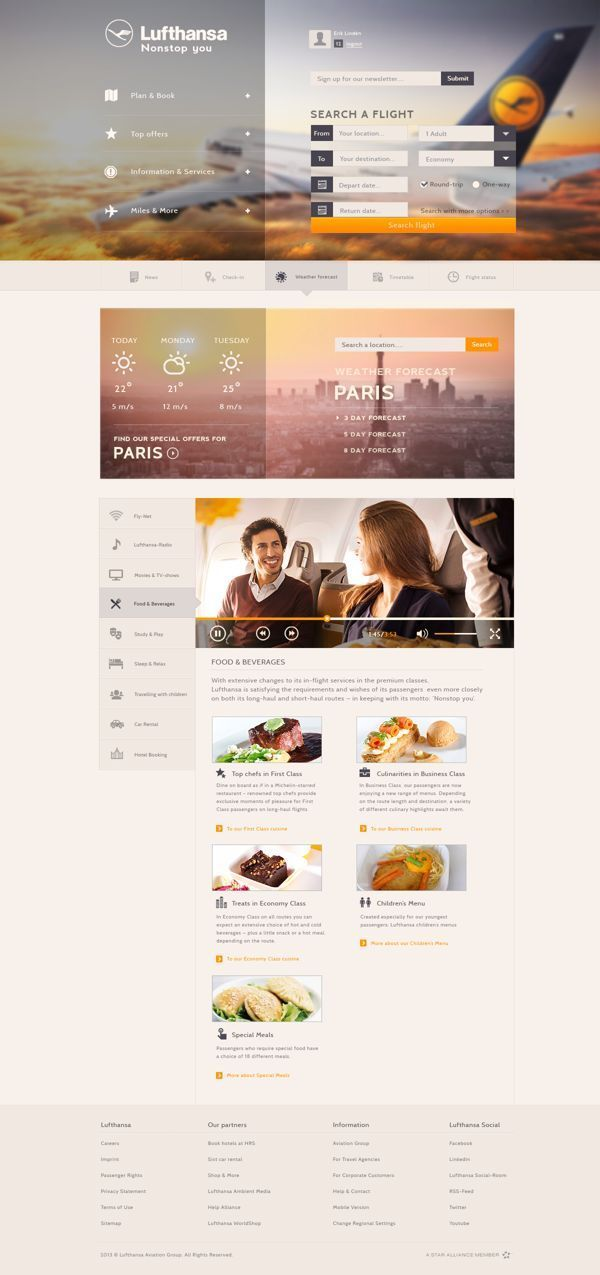 Layout for website for an airline. Very accessible and easy to understand content/layout. #webdesign #web #design