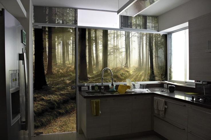 Gr fica de bosque impresa sobre vinil adhesivo y laminado - Laminado para cocina ...