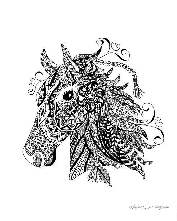 Zen Horse Print Pen and Ink Drawing