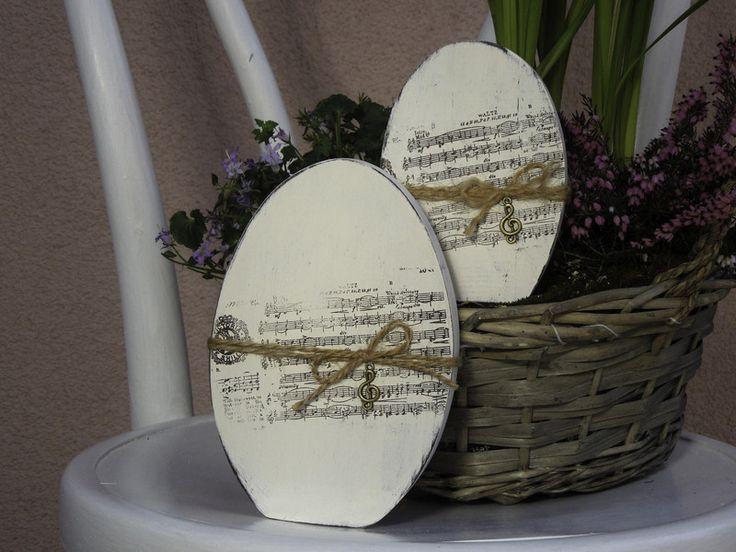 Wohnaccessoires - Holzeier mit Noten - Set - ein Designerstück von Emmart1 bei DaWanda