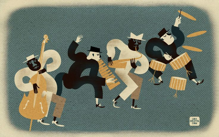 jazz quartet #jazz #lida #ziruffo #60's illustration #illustration