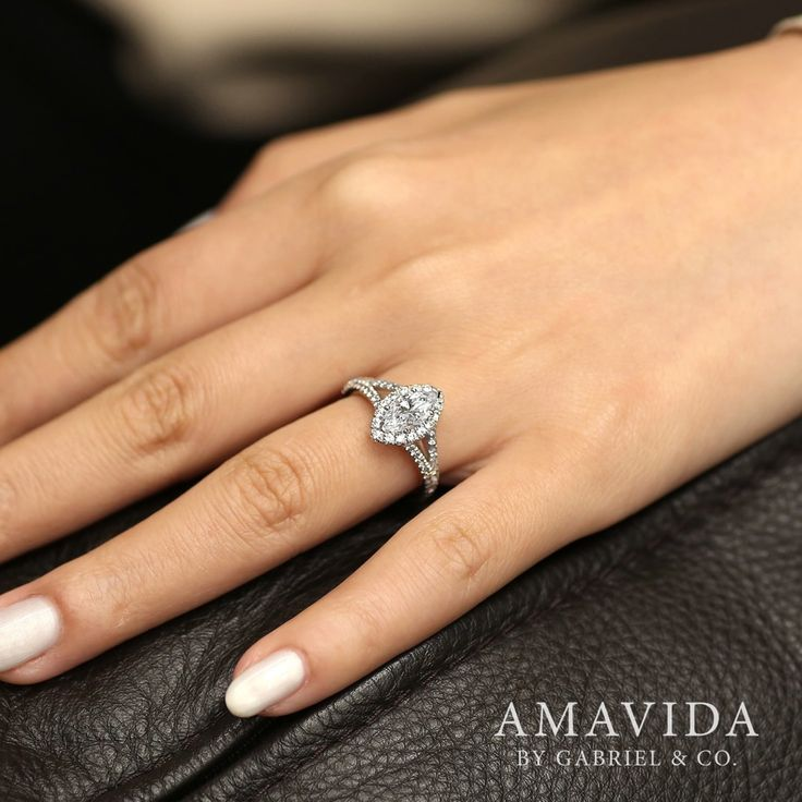 Gabriel NY - Voted #1 Most Preferred Fine Jewelry and Bridal Brand. 18k White Gold Marquise Halo  Engagement Ring