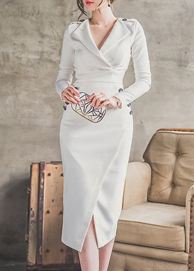 OL Style Notch Collar Long Sleeve Dress on sale only US$33.48 now, buy cheap OL Style Notch Collar Long Sleeve Dress at lulugal.com