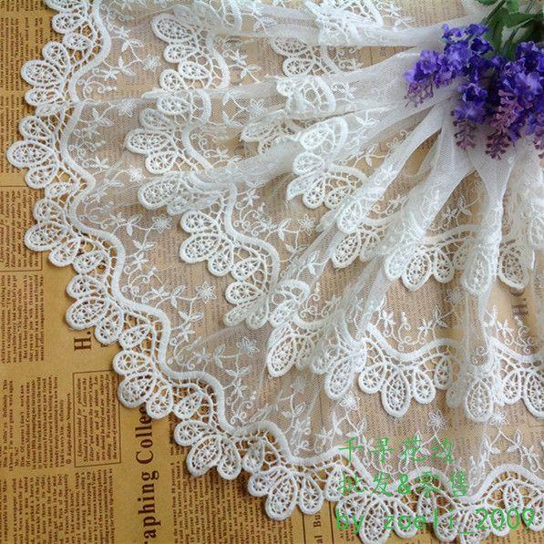 Doprava zadarmo 35cm 1,5 yd / zbaliť Top Grade 3layer Net Flower Water Soluble výšivky čipky čalúnenie Lace Fabric