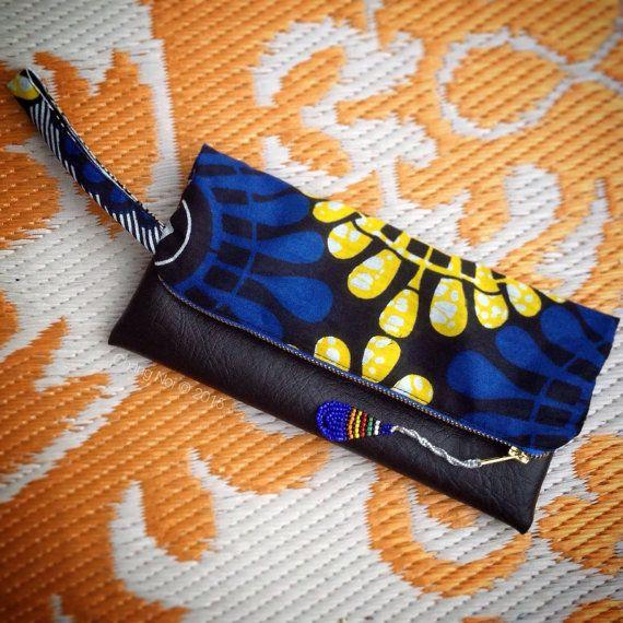 African Wax Print Clutch Bag  Blue  Yellow Makoti Wax by ChangNoii