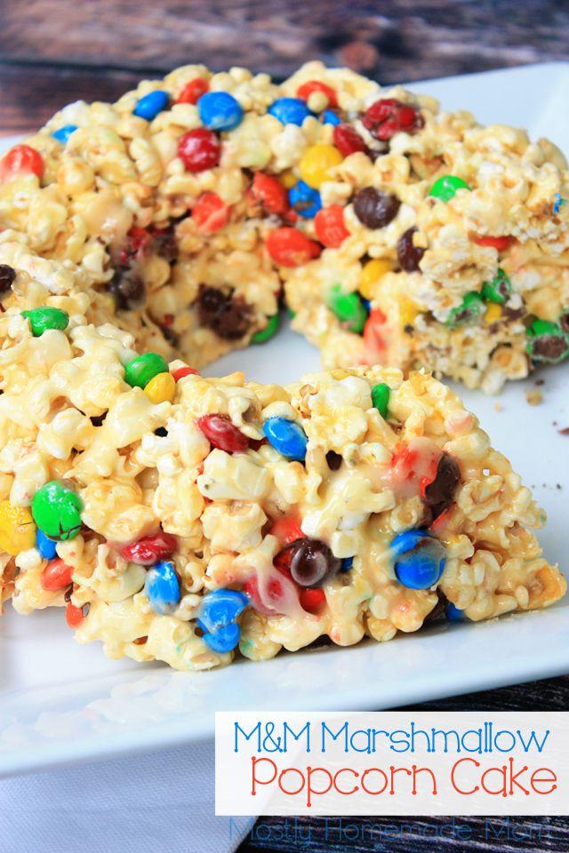 M&M Marshmallow Popcorn Cake Mostly Homemade Mom