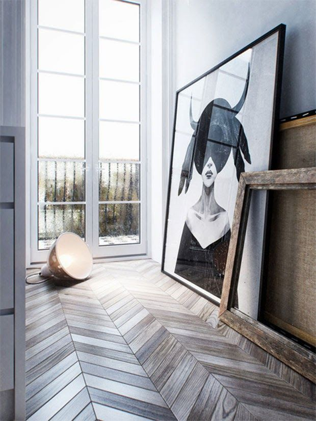 = chevron flooring and stacked frames