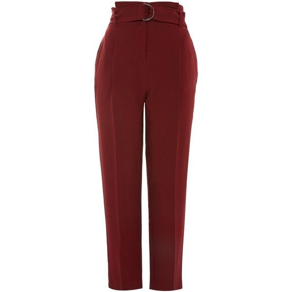 Topshop Belted Paperwaist Peg Trousers ($47) ❤ liked on Polyvore featuring pants, capris, berry red, peg trousers, peg pants, red trousers, topshop trousers and red pants
