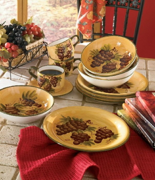 Tuscany Vineyard Grapes Wine Kitchen Dinnerware Set