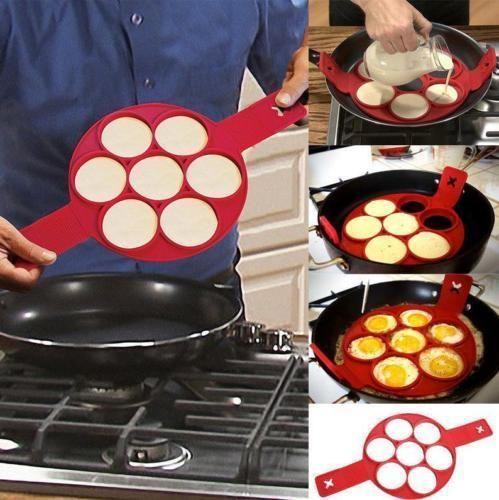 Perfect Flippin Non Stick Pancake Pan Flip Breakfast Maker Eggs Omelette Tool #Unbranded