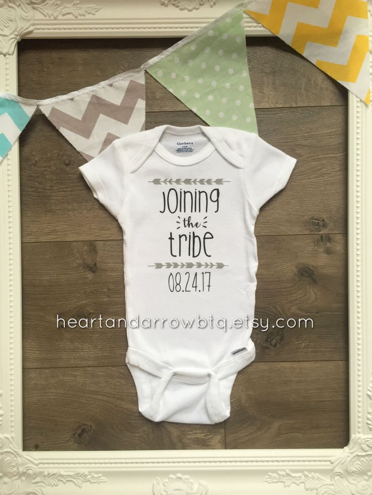 Personalized Joining the Tribe Announcement Onesie®/ Bodysuit /Pregnancy Reveal / Maternity Photography / Photo Prop / Surprise Reveal by HeartandArrowBtq on Etsy