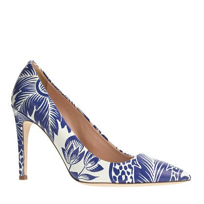 J.Crew Falsetto printed leather pumps: Prints Leather, Falsetto Prints, Jcrew Shoes, Jcrew Blue, Leather Pumps, Woman Shoes, J Crew Falsetto, Brilliant Purple, J Crew Blue