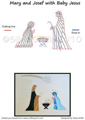 Free Iris Paper Folding Patterns | Nativity- Iris Folding Pattern