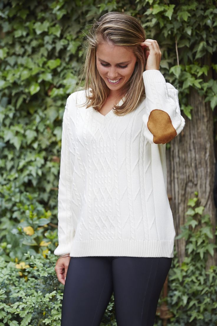 Lady Kate Cable Knit Boyfriend Sweater in White with suede elbow patches.  Women's knitwear made from Australian Merino wool. www.ladykate.com.au