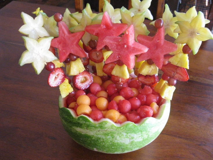 Fruit salad kebabs for a get together with friends my - Fruit designs for parties ...