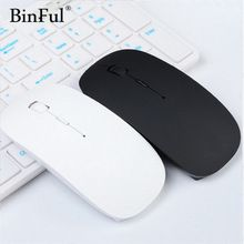 BinFul Ultra Thin USB Optical Wireless Mouse 2.4G Receiver Super Slim Mouse For Computer PC Laptop Desktop black Candy color(China)