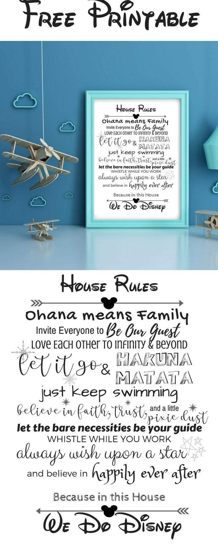 Disney House Rules Free Printable - the perfect home decor for any #Disney fan!  #DisneyWorld #freeprintable #freebie #disneyprincess #homedecor #printable