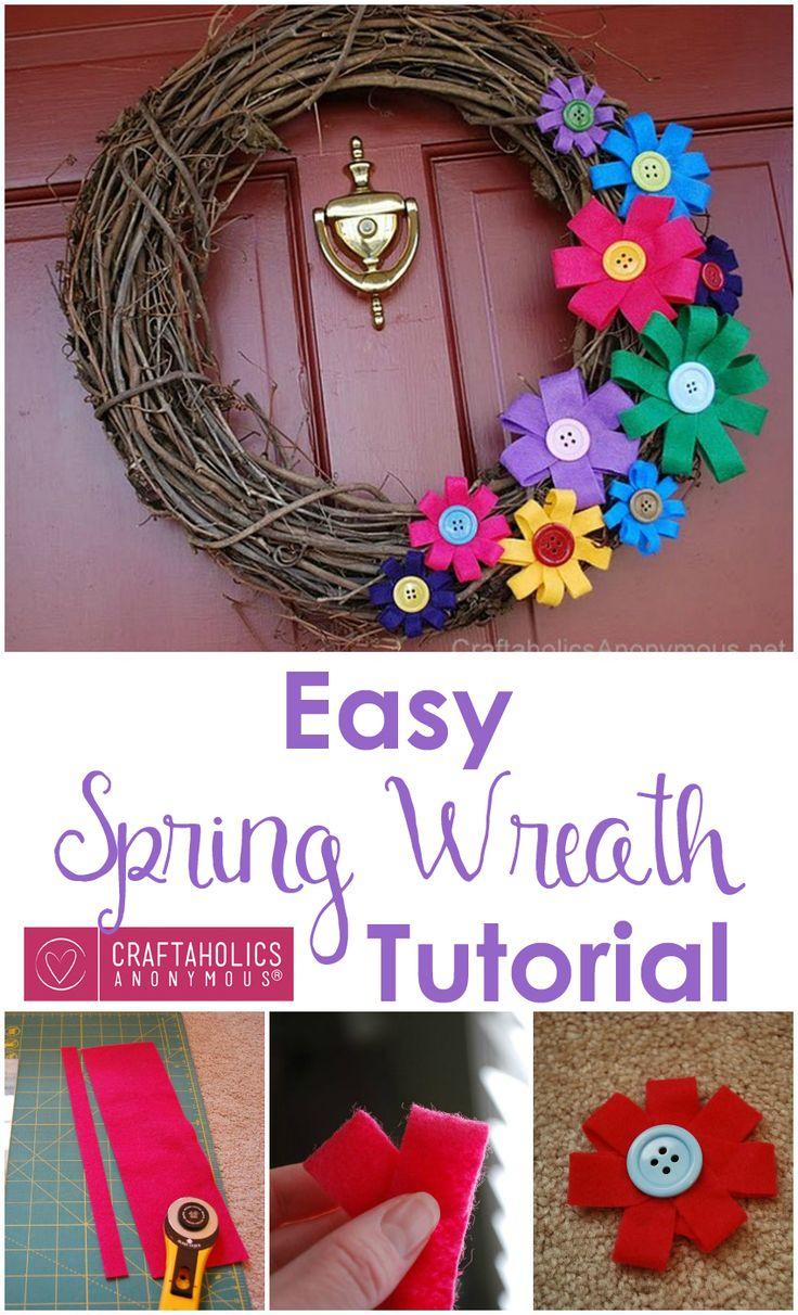 Easy Spring Wreath - Just a few easy steps to make this cute colorful wreath!  Craftaholics Anonymous®