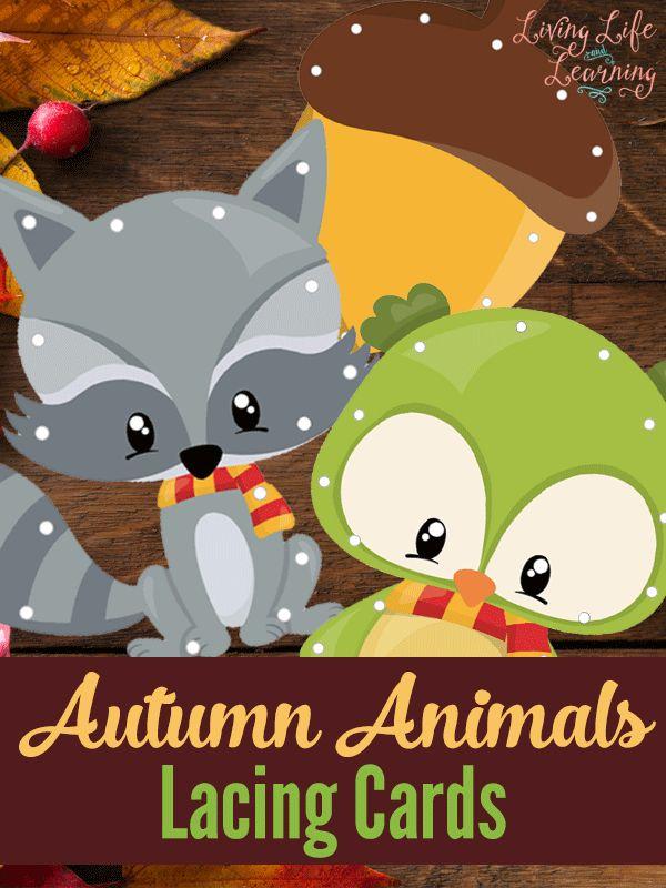Free Autumn Animals Lacing Cards - Money Saving Mom®