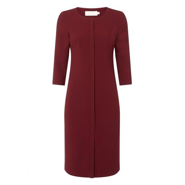 Edith Dress Plum ❤ liked on Polyvore featuring dresses, red pencil dress, pencil dress, elbow length dress, elbow length sleeve dress and plum dress