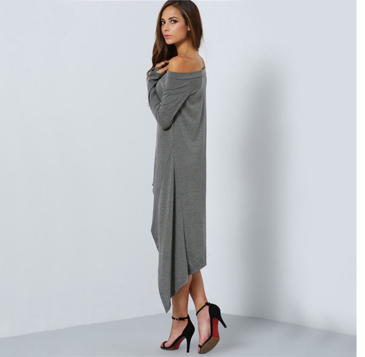 Gray Long Sleeve One-Shoulder Asymmetrical Long Dress