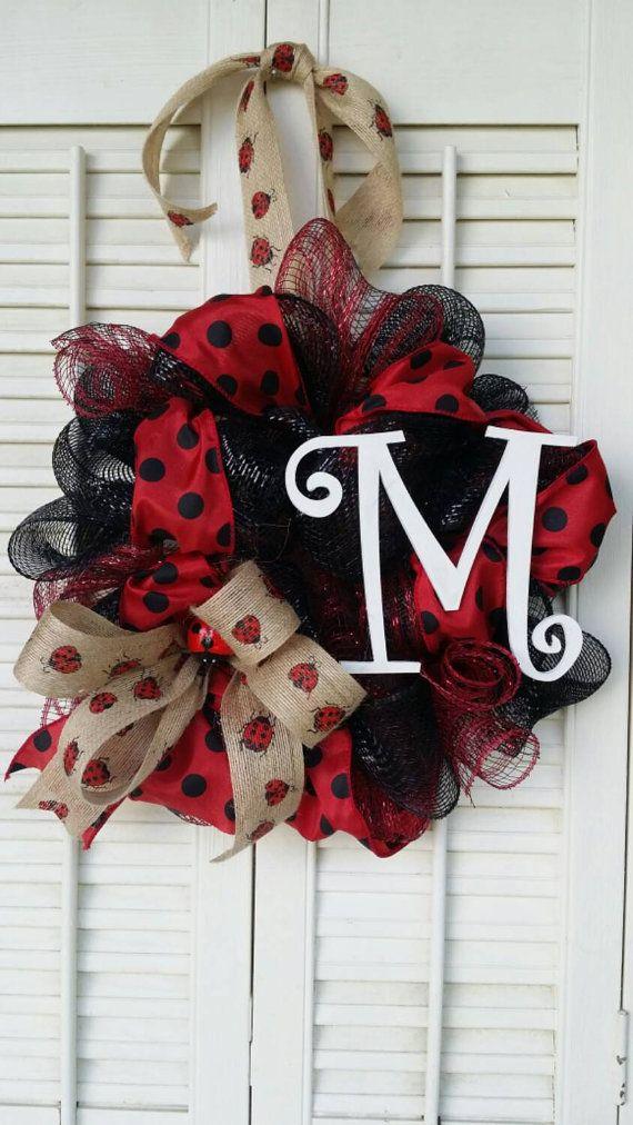 Ladybug Wreath Monogram Ladybug Burlap Ladybug Ribbon Nursery Wreath Red Black Dorm Wreath Graduation Gift Mother's Day Kitchen Wreath