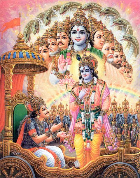 """Shri Krishna said: """"A person in full consciousness of Me,  knowing Me to be the ultimate beneficiary  of all sacrifices and austerities,  the Supreme Lord of all planets and demigods,  and the benefactor and well-wisher of all living entities,  attains peace from the pangs of material miseries. """"~Bhagavad Gita as it is 5.29"""