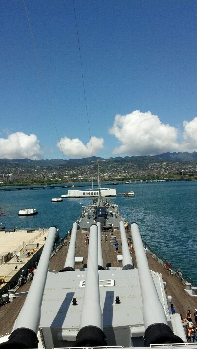 Honolulu, USS Missouri watching over the USS Arizona - This is a moving sight.  A Mighty Mo visit lets you see what the AZ must have looked like,