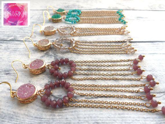 SALE Druzy earrings bohemian earrings agate by MarKiJewelry