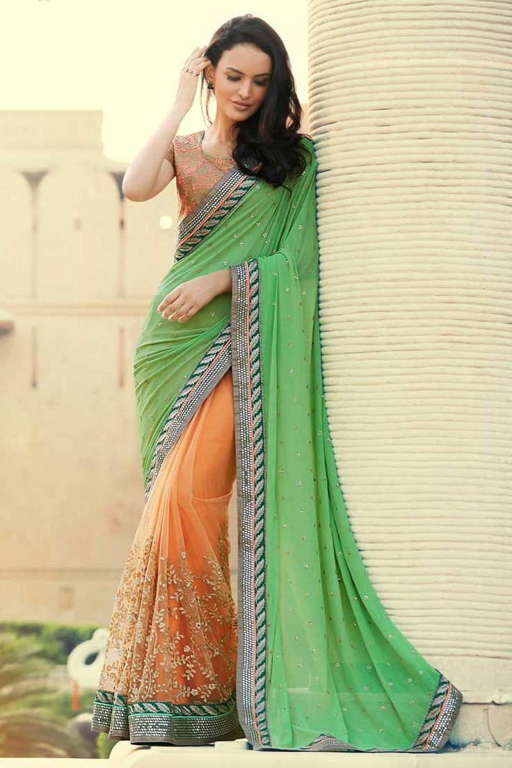 #AndaazFashion presents Green and orange Georgette and net Saree With Art silk Blouse  http://www.andaazfashion.fr/womens/sarees/green-and-orange-georgette-and-net-saree-with-art-silk-blouse-dmv8416.html