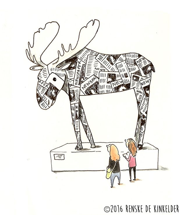 Visited a Paper art show at a local museum with a friend. This moose was originally a deer, beautifully made out of newspapers. Ink and watercolor. Renske de Kinkelder