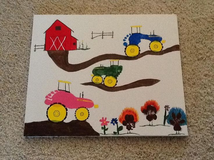 Kids feet for tractors and dogs paw prints for turkeys