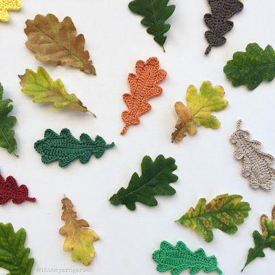 Oak leaf applique, free pattern from In The Yarn Garden  . . .  ღTrish W ~ http://www.pinterest.com/trishw/ . . . #crochet