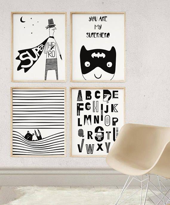 Enfants Art, impression de super-héros de pépinière, décor mural moderne chambre d'enfant, affiche, cadeau imprimable pour enfants, noir et blanc imprimé pour les enfants, vous êtes mon super-héros