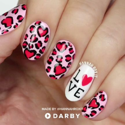 Leopard Heart Love Nail Art