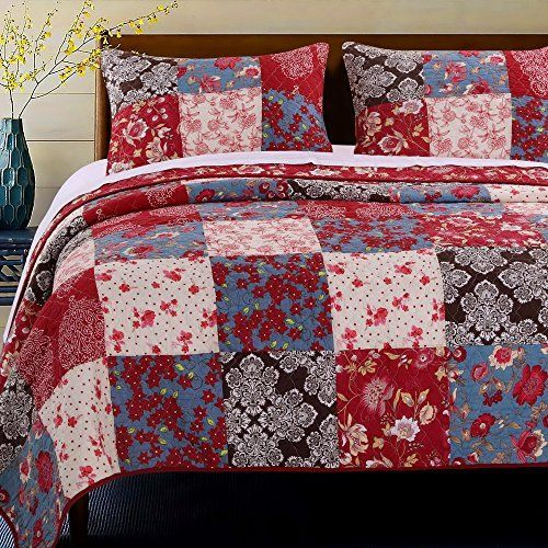 French Country Red Floral Flowers Patchwork Print Pattern Luxury Bedding 100 Cotton Reversible Quilt 3 Piece Set with Pillow Shams