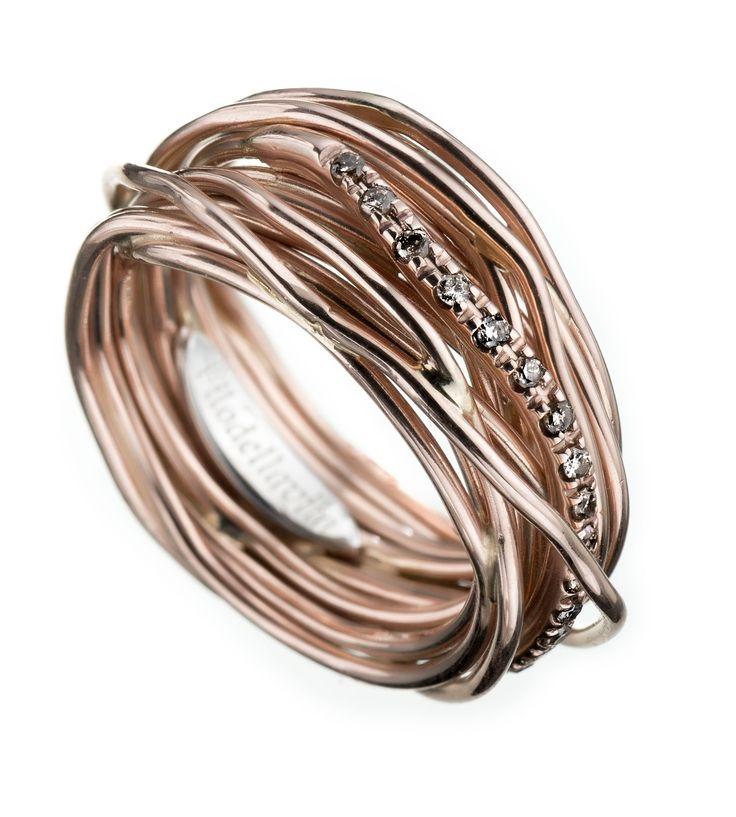 Anello Filodellavita 13 fili in Oro rosa 9 kt e Diamanti Brown ct 0,18